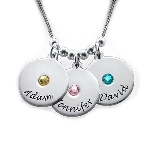 Disc Birthstone Necklace - Hebrew English 16 inches Chain (40 cm) English