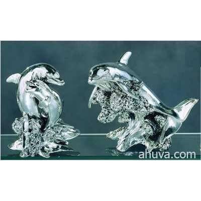 Dolphins Miniature Figurine Silver 155 mm
