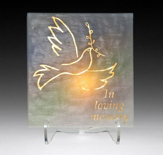 Dove Electric Yarzheit Glass Plaque None Thanks