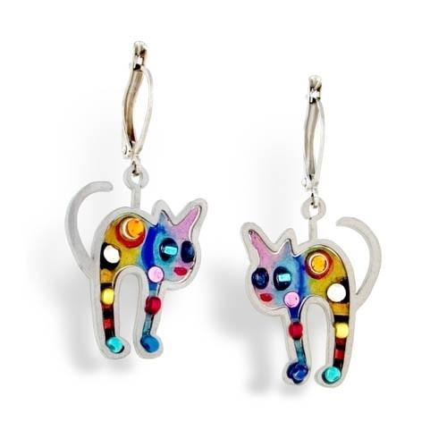 Earrings - Artistic Colorful Cats