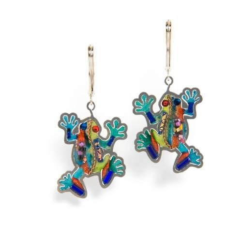 Earrings - Artistic Colorful Frogs