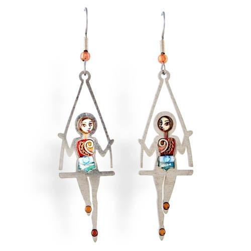 Earrings - Artistic Colorful Gymnasts Swinging