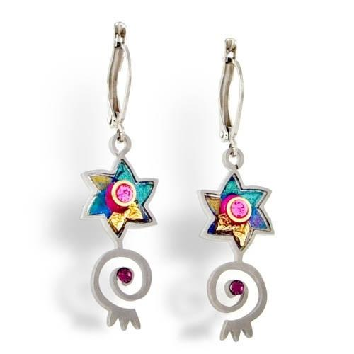 Earrings - Artistic Colorful Stars