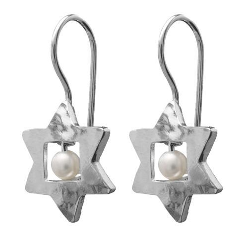 Earrings - Jewish Stars With Pearl