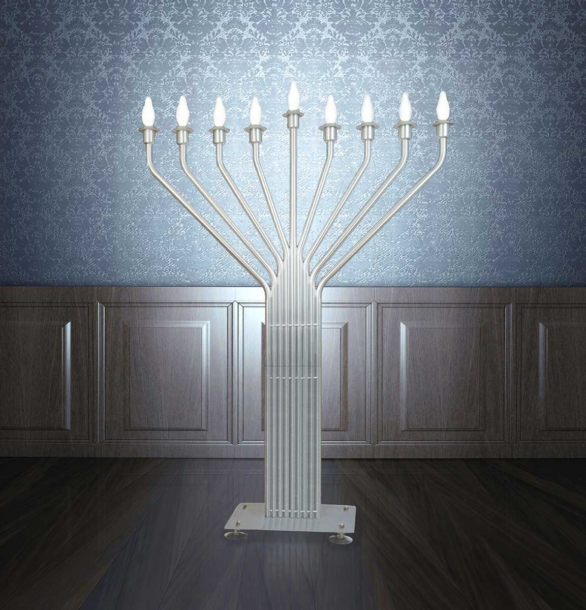 Electric Menorah Large Display Auto Lighting 6.5 Feet With inground base