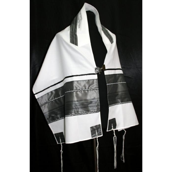 "Elegant Black And Grey Tallit Set 51x72"" (130/180 cm) #55 Wool Hand Painted Personalize"