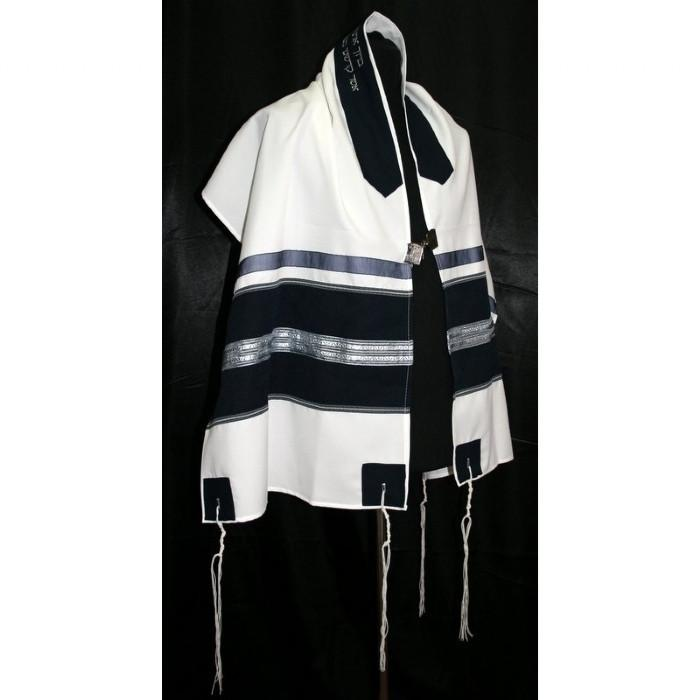 "Elegant Navy And Silver Tallit Set 51x72"" (130/180 cm) #55 Wool Embroidery to 10 letters"