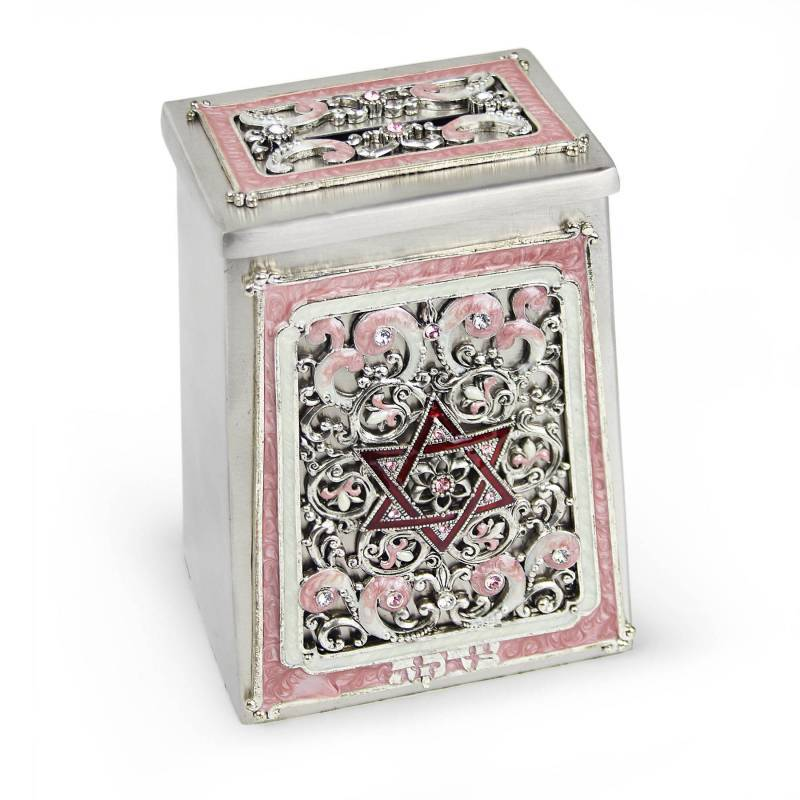 Elegant Star of David Swarovski Tzedakah Box Pink