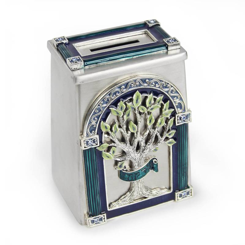 Elegant Swarovski Tzedakah Box Tree of Life
