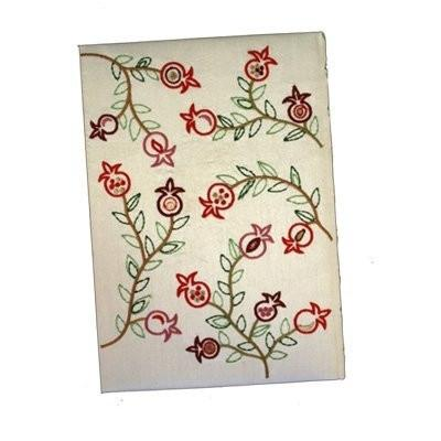 Embroidered Hard Cover Notebook - Pomegrantes White