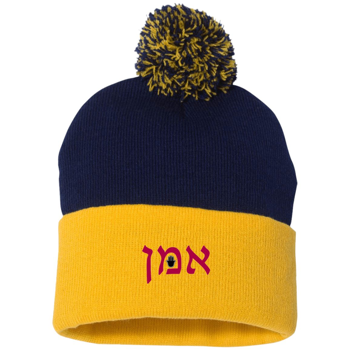 Embroidered Hebrew Pom Pom Knit Cap Hat Hats Black/Red One Size
