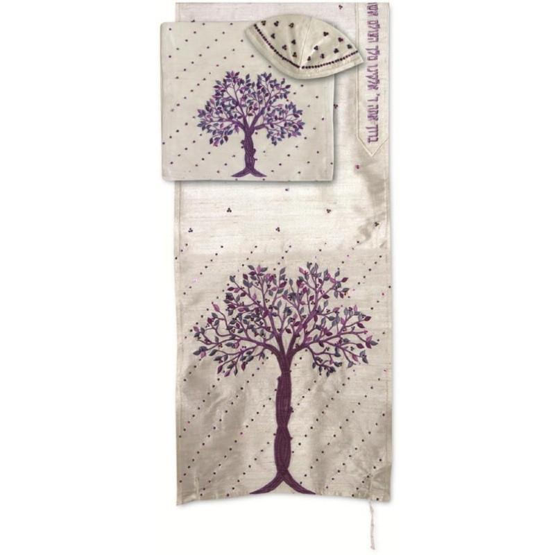 Embroidered Tree Of Life Tallit In Colors