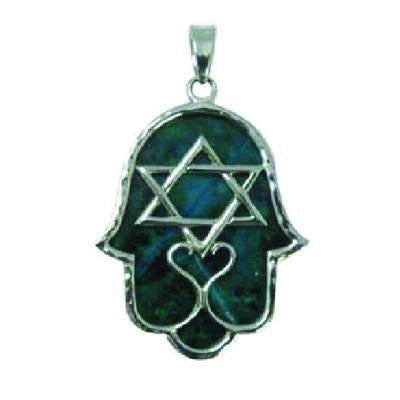 Emerald Green Gemstone Hamsa & Star Pendant Jewelry