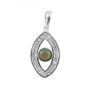 Evil Eye Diamond Stone Pendant 14Kt Yellow Gold