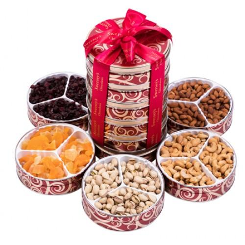 Executive 5 Tier Kosher Fruit & Nut Tin Tower Gift Basket
