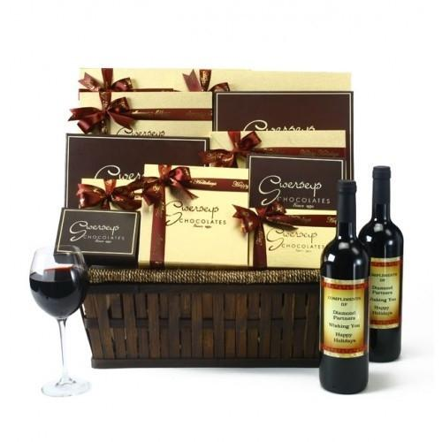 Executive VIP Luxury Wine and Gourmet Chocolate Basket Gift Basket
