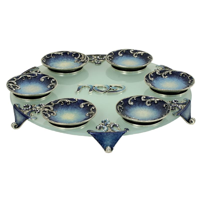 Exodus Passover Seder Plate Gold or Blue Frosted / Gold