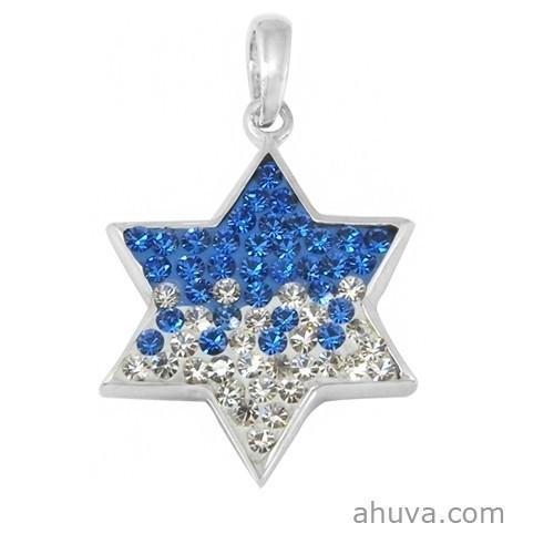 Fiery Jewish Star Of David Pendant 18 inches Chain (45 cm)