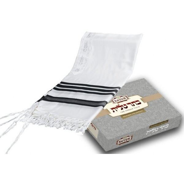 "Fine Feather Light Weight Supreme Tallit White 63"" x 67"" (160/170 cm) Embroidery to 20 Letters"