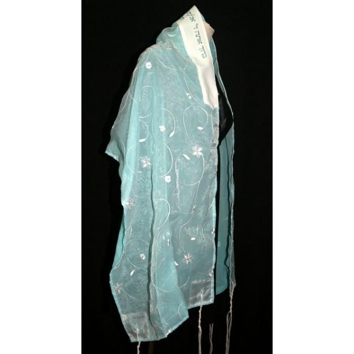 Flowered Organza Mint-Green Tallit