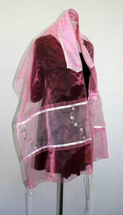 Flowered Organza Pink Rose Tallit
