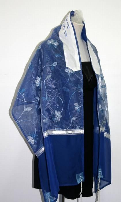 Flowered Organza Tallit In Blues