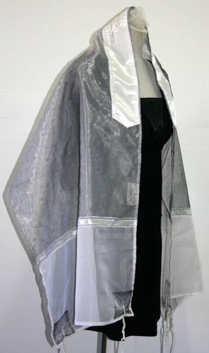 Flowered Organza Tallit In Greys