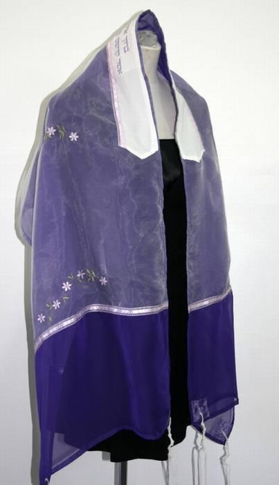 Flowered Organza Tallit In Purple