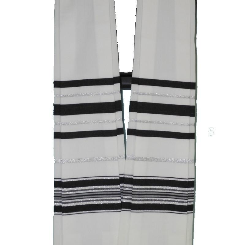 Form Fitted Clergy Tallit - Stripes Black/Silver Add Carry Bag