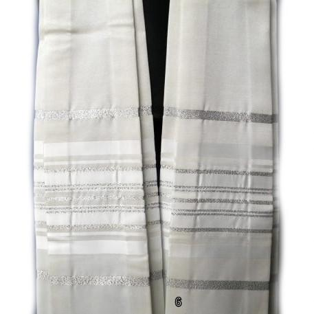 Form Fitted Clergy Tallit -White Silver Add Carry Bag