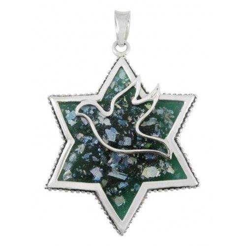 Freedom Dove In Star Of David On Roman Glass 18 inches Chain (45 cm)