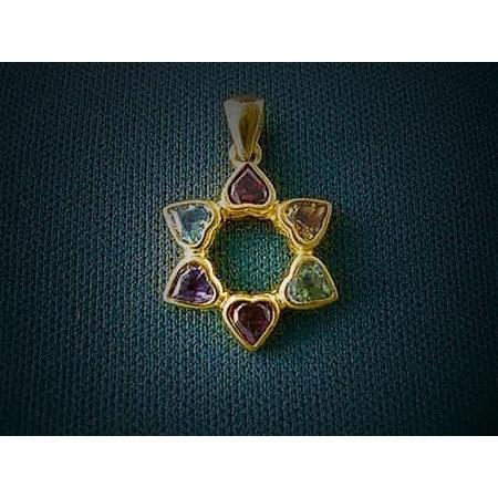 Gemstone Hearts In Star Of David Pendant None Thanks