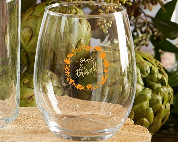 Give Thanks 15 oz. Stemless Wine Glass (Set of 4) Give Thanks 15 oz. Stemless Wine Glass (Set of 4)