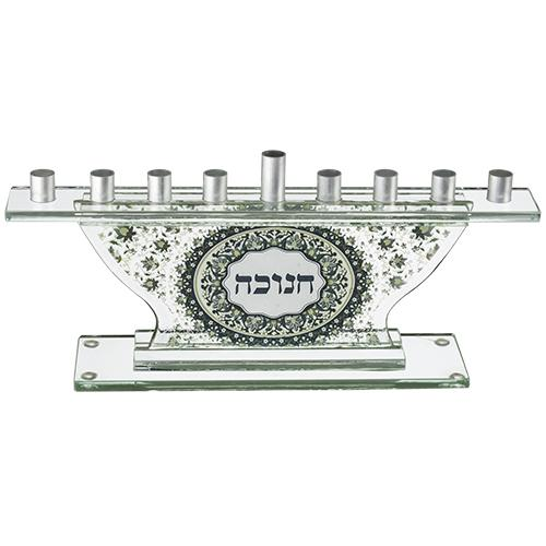 Glass Menorah 19.5 Cm, Floral Design 1316