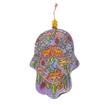 Glass Painted Hamsa - Deer