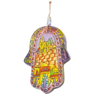 Glass Painted Hamsa - Jerusalem