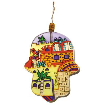Glass Painted Hamsa - Modern Jerusalem