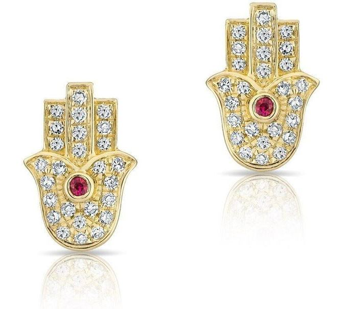 Gold Diamond Studd Hamsa Earrings