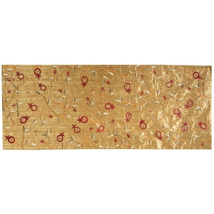 Gold Embroidered Table Runner - Pomegranates