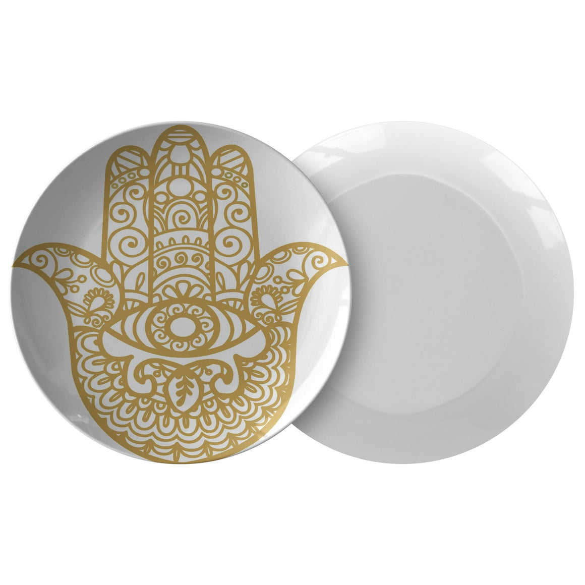 Gold Hamsa Plates Good Luck Dinnerware Dinnerware Single Plate