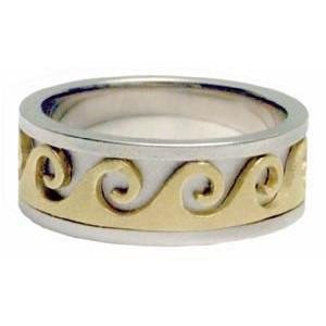 Gold Ring Bands - Ocean Waves