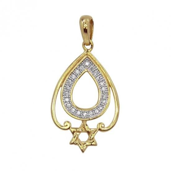 Gold Tear Drop Star Necklace Pendant Zirconia Clear