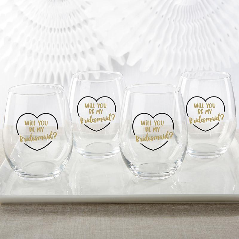 Gold Will You Be My Bridesmaid 15 oz. Stemless Wine Glass (Set of 4) Gold Will You Be My Bridesmaid 15 oz. Stemless Wine Glass (Set of 4)