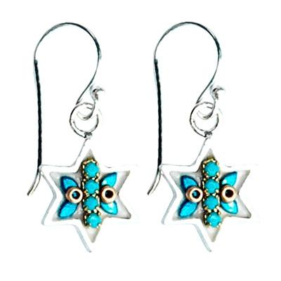 Golden Leaves Star of David Earrings Golden Leaves