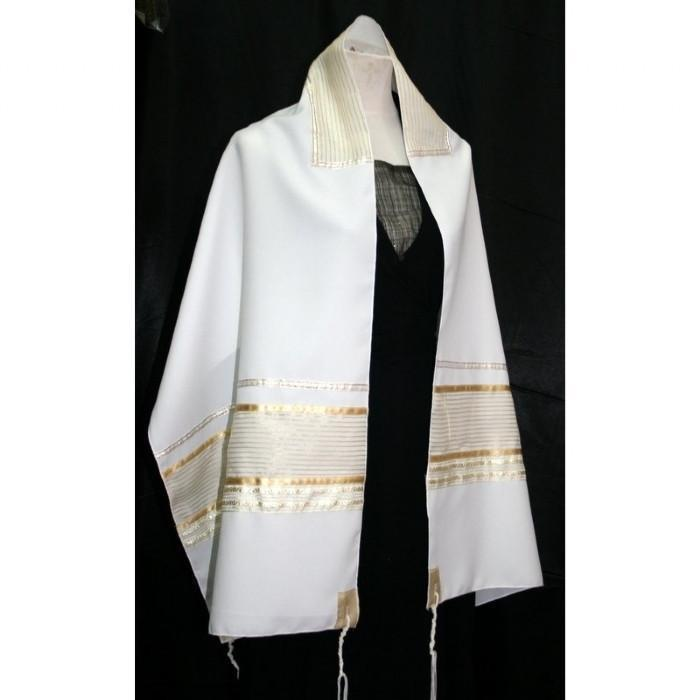 "Golden Tallit Prayer Shawl 51x72"" (130/180 cm) #55 Wool Embroidery to 10 letters"