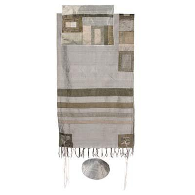 Grey & Gold Silk Tallit Set 100% Wild Silk