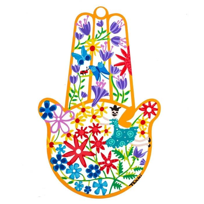 Hamsa Decor Good Luck - Metal Spring Art Blue