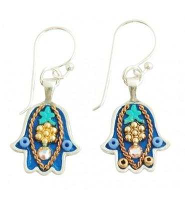 Hamsa Earrings in 9 Color Options- Small Silver