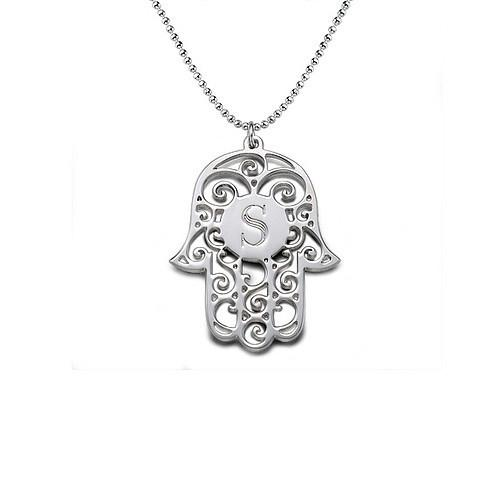 Hamsa Necklace - Silver Initial 22 inches chain (56cm)