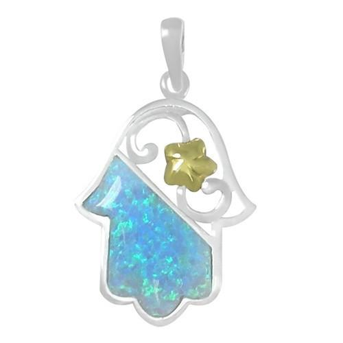 Hamsa & Opal Stone Funky Design 18 inches Chain (45 cm)